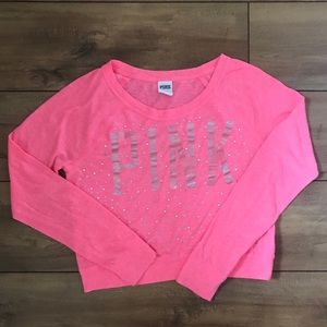 VS Pink, coral pullover crop